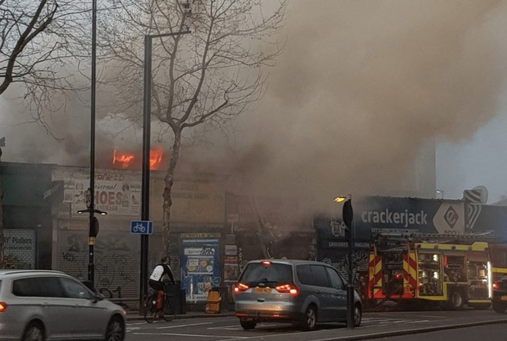 office roof destroyed after early morning fire in peckham