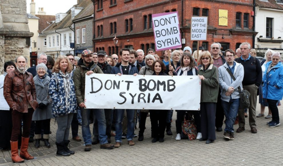 protest against syria bombing held on the isle of wight