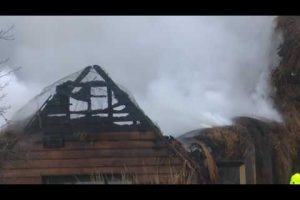 sixty fire fighterstackle thatch fire at farmhouse near romsey