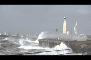 storm imogen hits southsea sea front