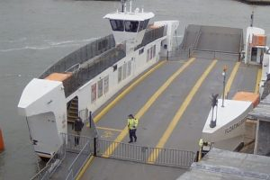 troubled floating bridge reported to have crashed into harbour wall suspending service