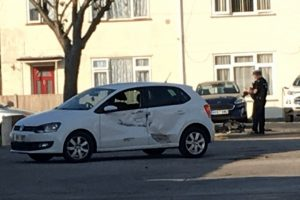 breaking serious collision closes road on gosport housing estate