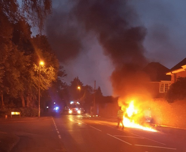 fire crews to called to car that turns into fire ball in weybridge