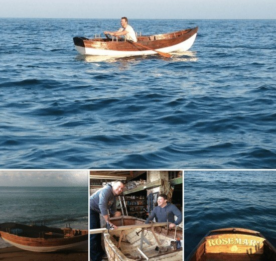 man planning to circumnavigate the isle of wight single handed in a classic wooden rowing boat