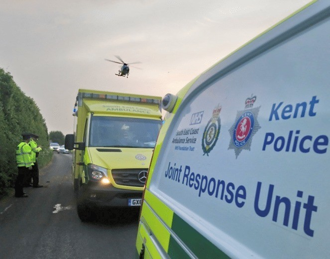 police close lower road in teyham following motorcyclist collision