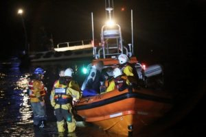 coastguard and lifeboat launched after people spotted in the water in newport