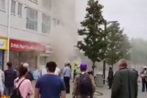 fire crews tackle shop fire in centre of farnborough