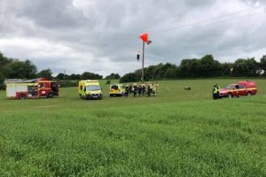 parachutist rescued by fire crews in northampton
