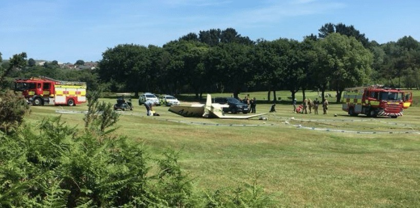 pilot escapes serious injury following plane crash on the 8th hole on isle of wight golf course