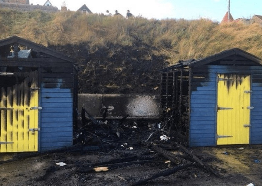 beach hut on seafront destroyed by fire