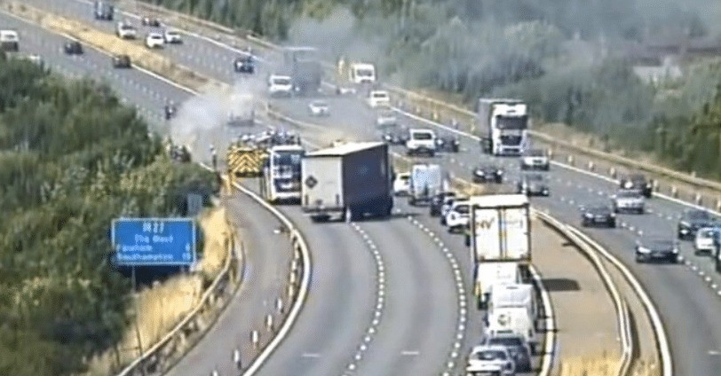 Dramatic Car Fire On The M27 Motorway Has Sent Huge Plumes Billowing Over The Carriageway