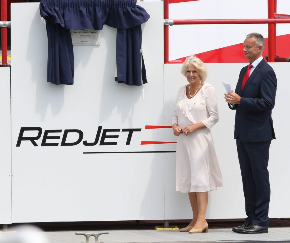 duchess of cornwall names red jet seven in cowes