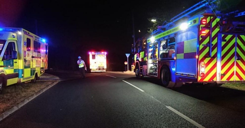 fire crews called to car roll over in colwell on the isle of wight