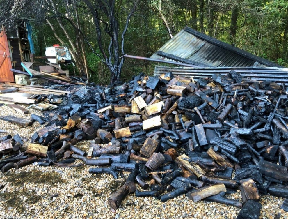 fire rips through wood store in the west wight