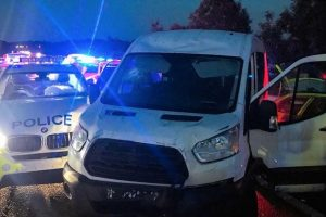 kent police arrest five after van is driven through shop front in aylesford