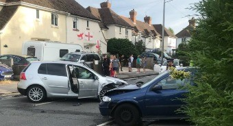 man serious after he was involved in a collision and than stabbed in the torse in tunbridge wells
