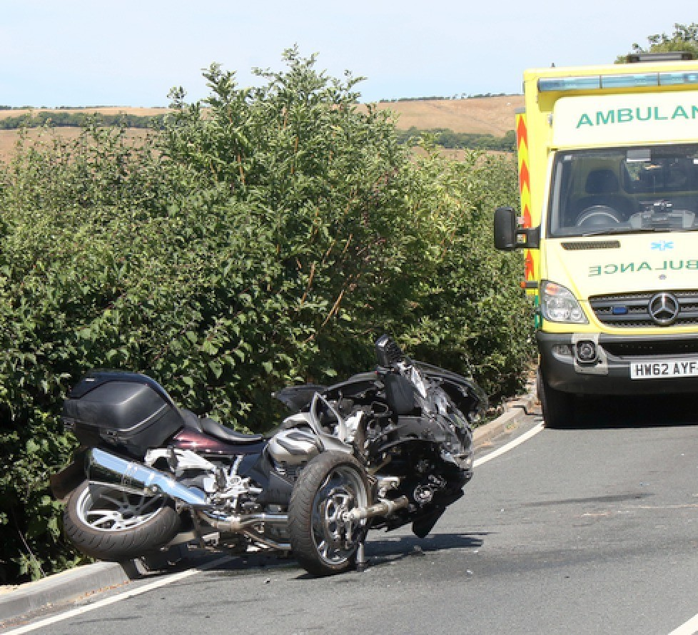 motorcyclist airlifted following wroxhall collison