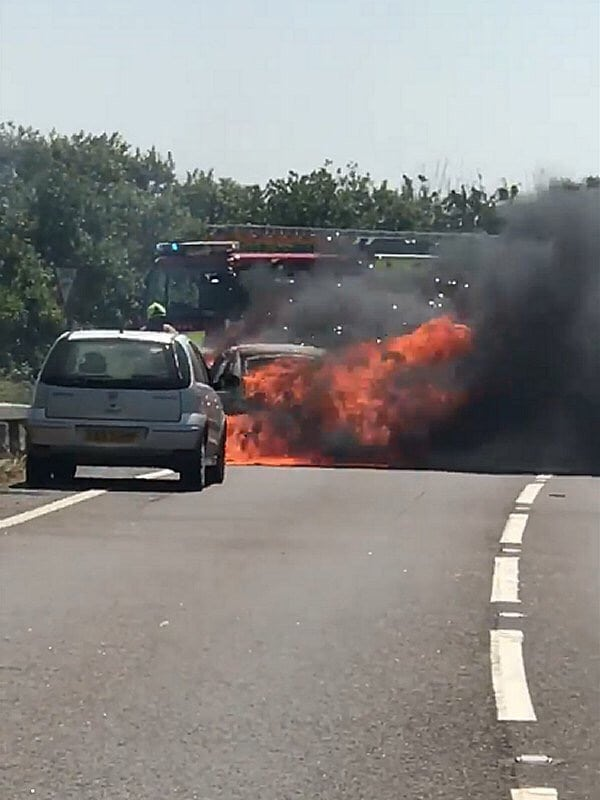 road remains closed following massive fire ball in kent