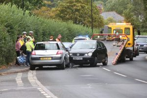 three vehicle collision blocks horsebridge hill in newport