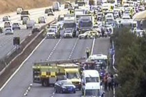 15 ambulances sent to m25 coach crash near swanley