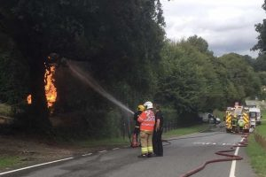 fire crews from across hampshire called to fractured gas main alight