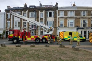 fire crews with specialist aerial ladder called to assist isle of wight ambulance
