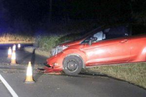 road closed after car loses control and ploughs into trees on staplers road in newport