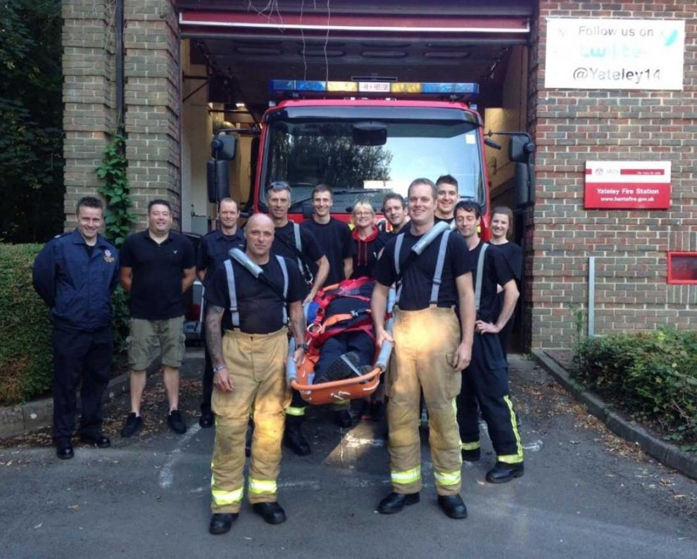 tadley fire fighters reigniting stretcher challenge in aid of oliver
