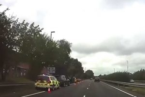 the aftermath of a ford st ploughing a mini into crash barrier