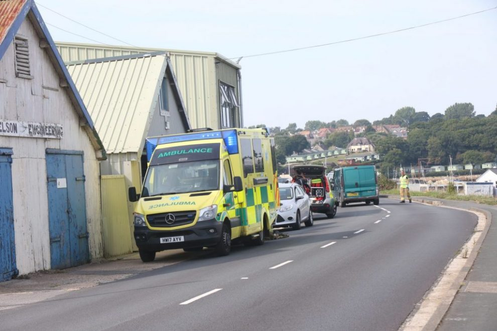 live updates fire crews called man trapped trench in bembridge
