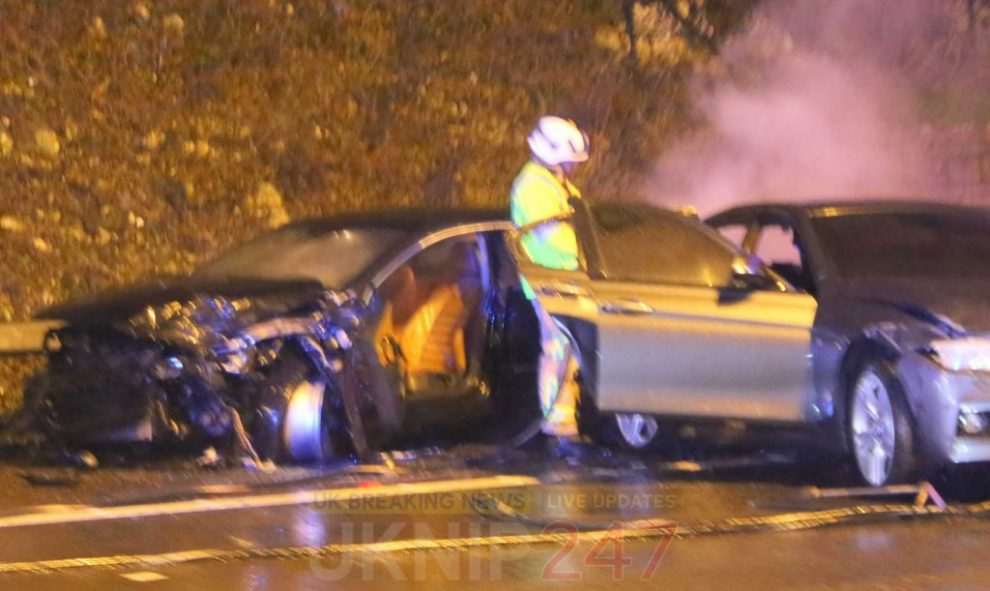 m25 closed in surrey after tanker in collision with a car
