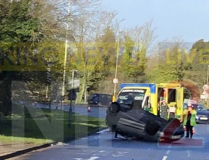 overturned car closes part of a27