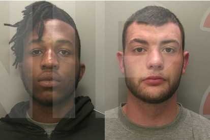 two armed robbers jailed for nine years