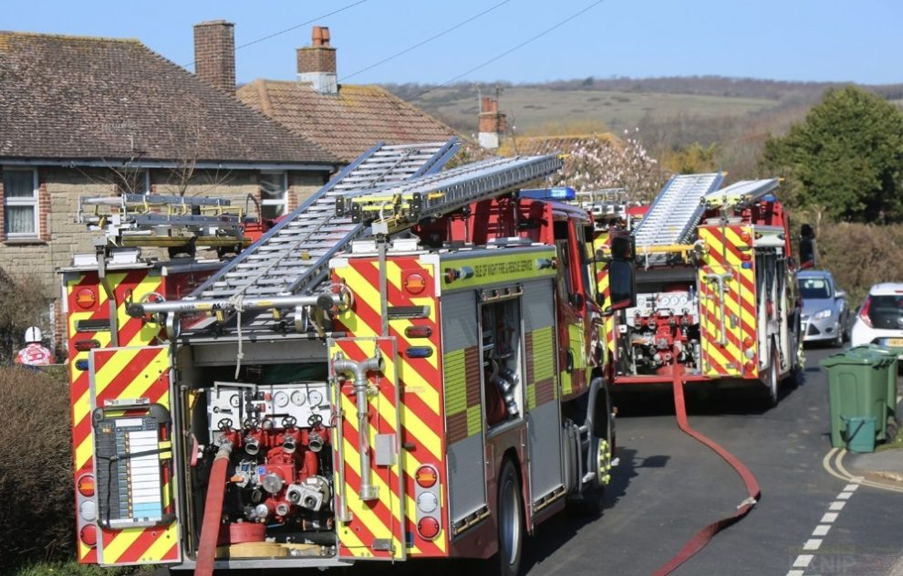 fire crews tackle thatch blaze on the isle of wight