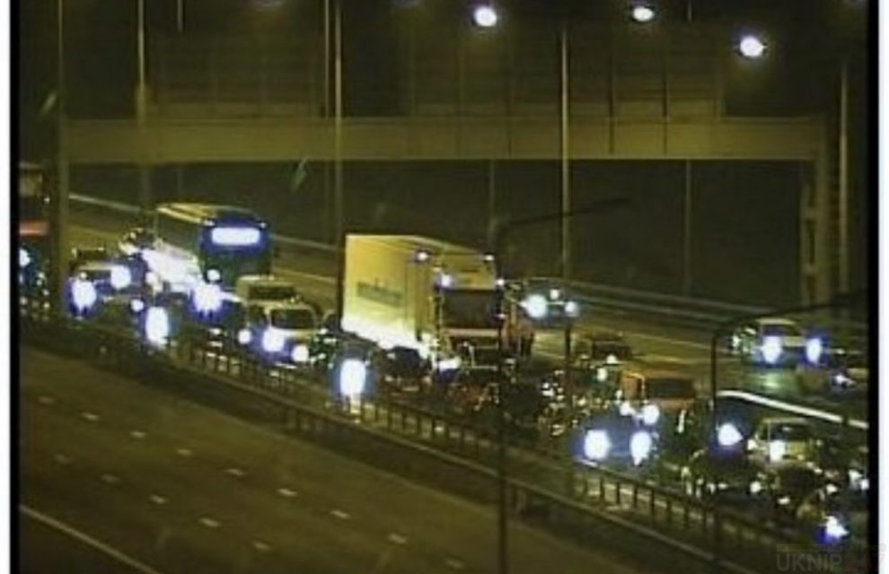 m11 closed following serious collision