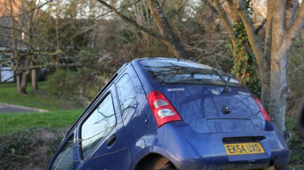 car ploughs down embankment on st marys roundabout