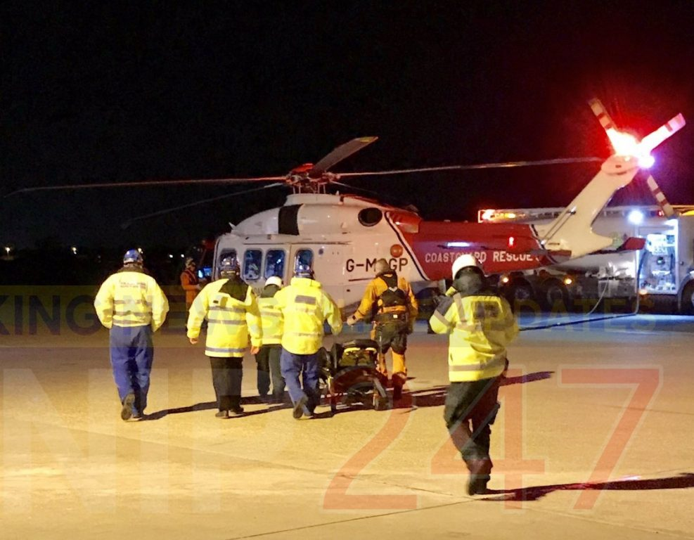 Coastguard Rescue Helicopter And Search And Rescue Team Called Into Action