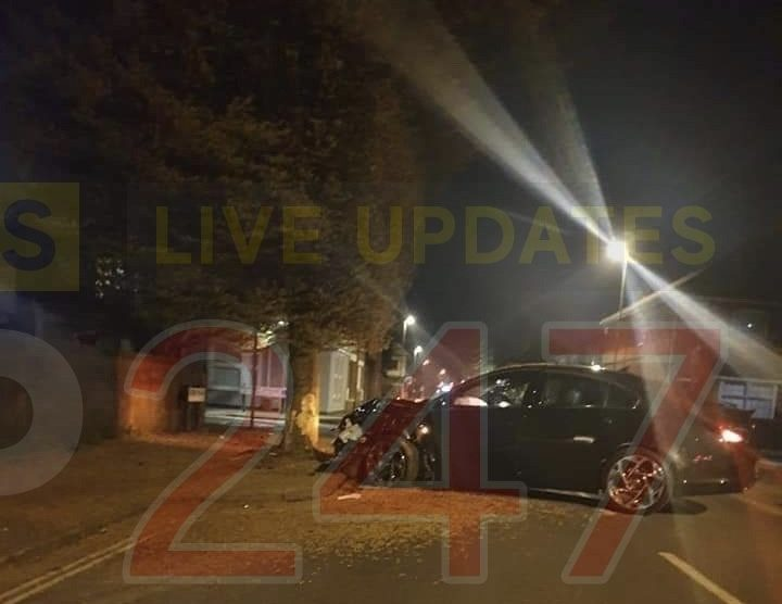 drunk driver ploughs into tree than makes off