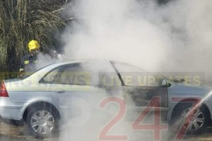fire crew called to car fire in lake