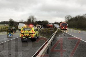 lorry overturns on the a303 causing chaos