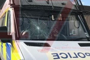 scumbag attack police van with rocks in southampton
