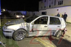 couple escape serious injury after collision with telegraph pole