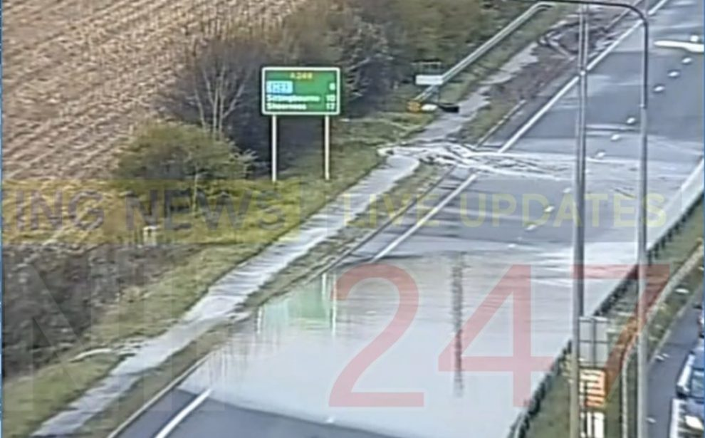 delays on the m20 after water main bursts