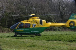 life saving helicopter called to the west wight
