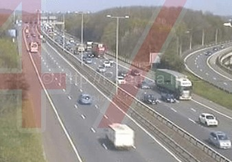lorry and coach involved in a collision on the m25
