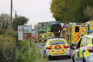 person trapped in newport bus collision