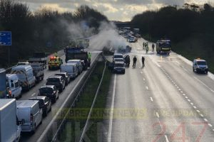 three vehicles turn into fireball on the m2 in kent