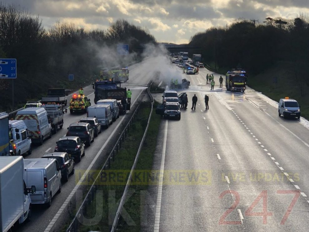 Three vehicles turn into fireball on the M2 in Kent, UKNIP