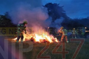 fire crews called to hay bales well alight