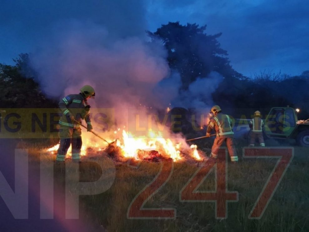 Fire crews called to hay bales well alight, UKNIP